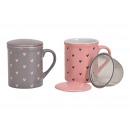 Tea bögre szívdísz kerámiából készült fém szűrővel