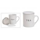 Tazza da tè TEA con colino in metallo in ceramica