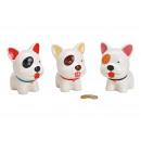 groothandel Poppen & Pluche: Keramiek spaarpot hond wit 3- maal geassorteerd ,