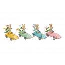 hurtownia Zabawki: Króliczek w aucie wykonany z metalu wielokoloroweg