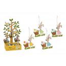 Hanger bunny 6x8cm, tree Display 17x33x12cm made o