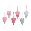 Appendino cuore in metallo colorato 6- volte assor