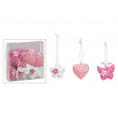 Hanger set, heart, flower, butterfly made of 4x4x1
