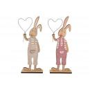 Großhandel Spielwaren: Aufsteller Hase mit Herz aus Holz Pink/Rosa, beige