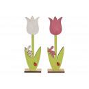 Espositore Tulipani, decoro coniglietto in legno,