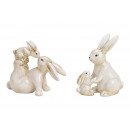 wholesale Home & Living: Mother rabbit with child made of ceramic white 2-a