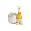 Bunny with bowl made of ceramic yellow (W / H / D)