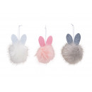 wholesale Dolls &Plush: Hanger bunny made of felt, plush pink / pink, gray