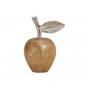 wholesale Decoration: Mango wood apple, metal brown (W / H / D) 10x13x7c