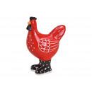 Pollo in ceramica rosso (L / A / P) 13x17x8cm
