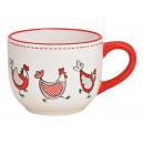 Tazza con decoro pollo in ceramica bianca (L / A /