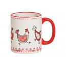 Tazza decoro pollo in ceramica bianca (L / A / P)