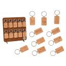 Key ring 3.5x5.5cm made of wood natural 10-fold