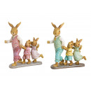 Bunny father with children made of poly green, pin