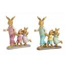 Bunny padre con bambini in poli verde, rosa 2 volt