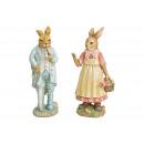 Coniglio padre, coniglio madre in poli multicolore
