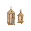Set lanterne in legno, vetro marrone, set da 2, (L