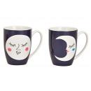 Mug luna faccia in porcellana bianco / nero 2-