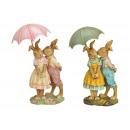 Coppia di conigli con ombrello in metallo realizza
