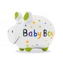 Salvadanaio KCG maialino neonato, in ceramica,