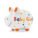 Money box KCG small pig, baby girl, made of cerami