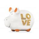 Money box KCG small pig, Love, made of ceramic, Ar