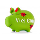 wholesale Gifts & Stationery: Money box KCG small pig, Viel Glück , made of cera
