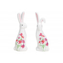 Coniglietto con decoro floreale in ceramica bianca