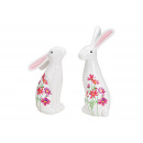 Bunny with flower decor made of ceramic white 2-as