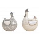 Poulets en céramique gris / beige 2- fois assorti