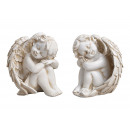 Sitting angel made of poly white 2- times assorted