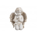 Angel kneeling made of poly white (W / H / D) 11x1