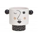 wholesale Shirts & Tops: Ceramic flower pot woman black / white (W / H / D)