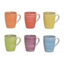 Bicchieri in gres multicolore 6- volte assortito ,