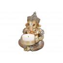 Ganesha with tea light holder made of poly champag
