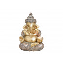 Ganesha con portacandelina in poli champagne (B /