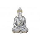 Buddha gjord av polysilver (B / H / D) 13x21x11cm