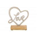 Espositore Cuore amore in metallo su calza in legn