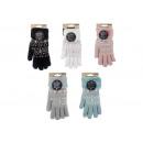 Handskar nalle en storlek, snöflingor i textil