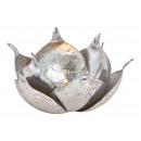 Lanterna Lotus in metallo, vetro argento (L / A /