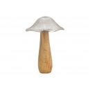 Fungo in metallo, legno di mango argento, marrone