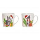 Tazza Jumbo gatto di Natale in porcellana bianca 2