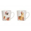 Tazza Jumbo cane di Natale in porcellana bianca 2-