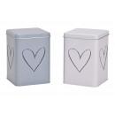 Decoro cuore scatola in metallo bianco, grigio 2-a