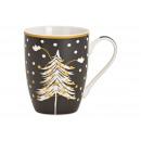 Tazza con albero di Natale in porcellana nera (L /