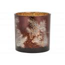 Lantern owl decor made of glass brown (W / H / D)