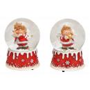 Carillon, angelo globo di neve in poli, vetro ross