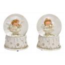 Carillon, angelo globo di neve in poli, vetro bian