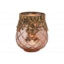 Lanterna in vetro, metallo rosa/rosa (L/A/P) 9x10x