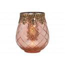 Lanterna in vetro, metallo rosa / rosa (L / A / P)